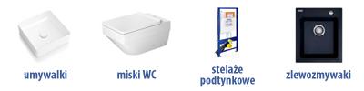 Produkty średnie: umywalki, miski WC, stelaże podtynkowe, zlewozmywaki